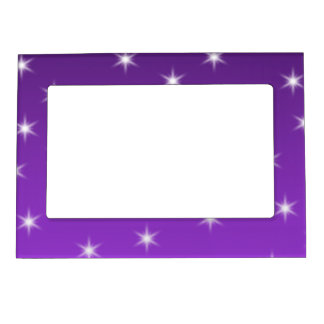 Purple and White Stars, Pattern. Magnetic Picture Frame