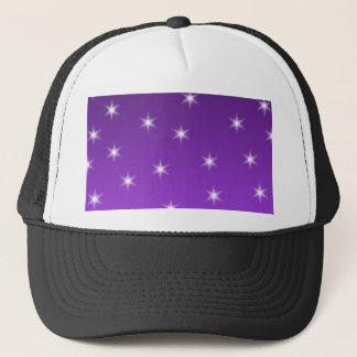 Purple and White Stars, Pattern. Trucker Hat