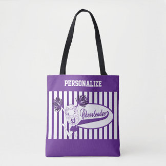 Purple and White Stripe Cheerleader Girl Tote Bag