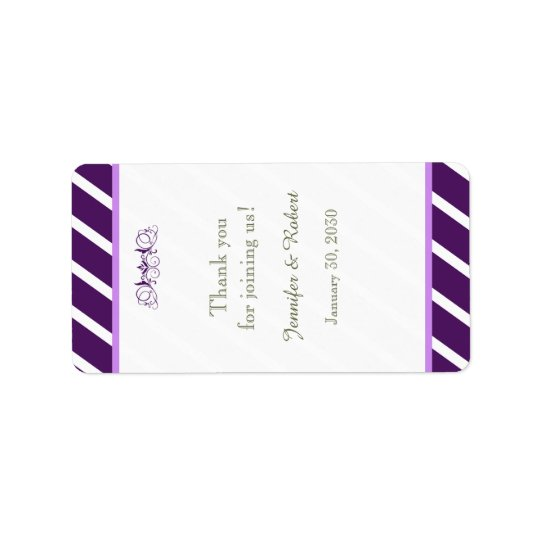 Purple and White Stripe Wedding Lip Balm Label Address Label