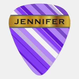 Purple and White Striped Pattern & Custom Name Plectrum