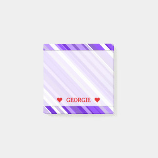 Purple and White Striped Pattern & Custom Name Post-it Notes