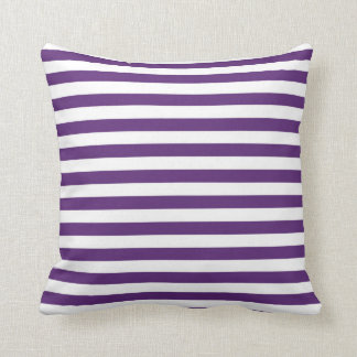 Purple and White Stripes Pillow