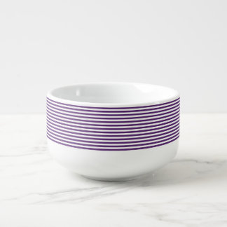 Purple and White Stripes Soup Mug