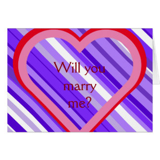 "Purple and White Stripes + ""Will you marry me?"" Card"