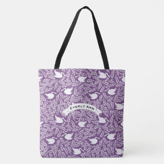Purple and White Swan Pattern Tote Bag