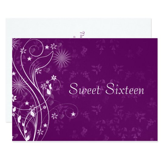 Purple and White Sweet Sixteen Invitation