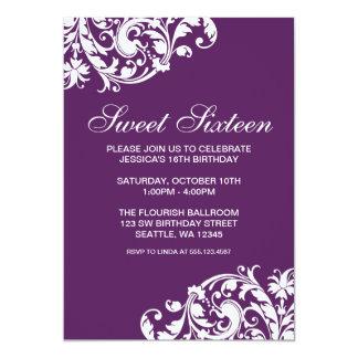 Purple and White Swirl Flourish Sweet 16 Birthday 13 Cm X 18 Cm Invitation Card