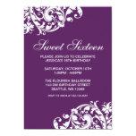 Purple and White Swirl Flourish Sweet 16 Birthday Custom Invite