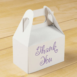 Purple And White Thank You Wedding Party Favour Box