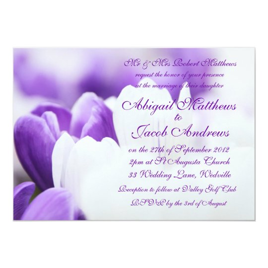 Purple And White Tulip Flowers Wedding Invitation