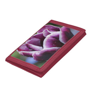 Purple and White Tulip Tri-fold Wallet