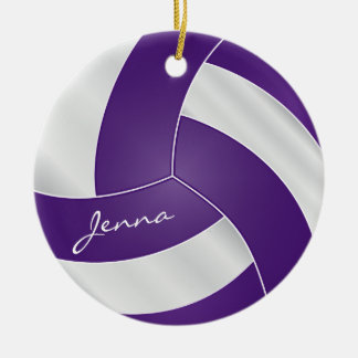 Purple and White Volleyball 2 | DIY Name Christmas Ornament