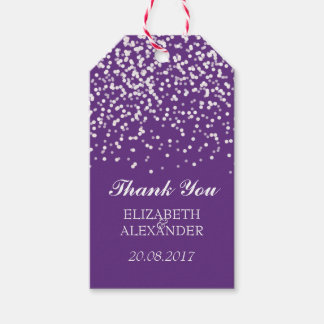Purple and White Wedding Confetti Pattern Gift Tags