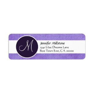 Purple and White Wedding Monogram Address Label
