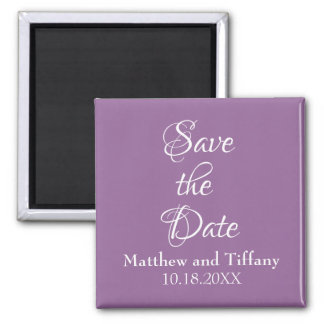 Purple and White Wedding Save the Date Magnet