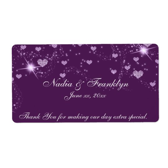 Purple and White Wedding, Thank You Wine Label Shipping Label