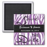 Purple and White Zebra Wedding Save the Date Fridge Magnets