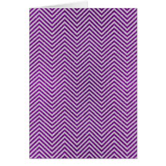 Purple and White Zig Zag Glitter Greeting Card