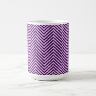 Purple and White Zig Zag Glitter Coffee Mug