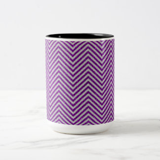 Purple and White Zig Zag Glitter Two-Tone Coffee Mug