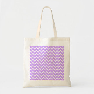 Purple and White Zigzag Stripes. Budget Tote Bag