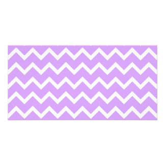 Purple and White Zigzag Stripes. Card