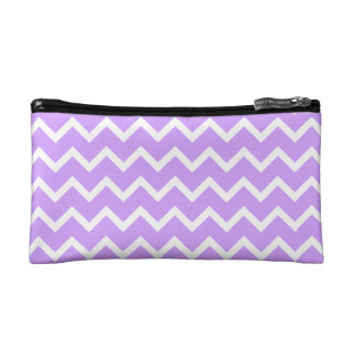 Purple and White Zigzag Stripes. Cosmetics Bags