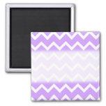 Purple and White Zigzag Stripes. Fridge Magnets