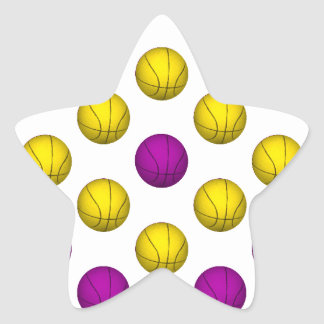Purple and Yellow Basketball Pattern Star Sticker