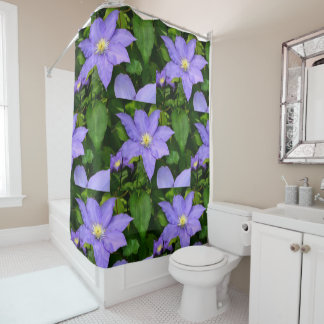Purple and Yellow Clematis Shower Curtain