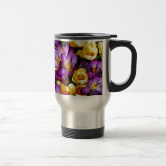 Purple and yellow crocus flowers travel mug