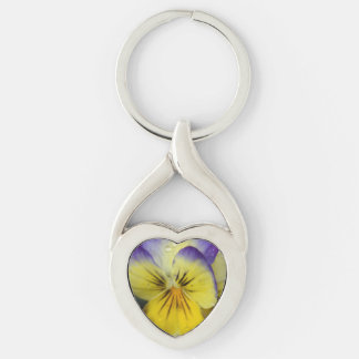 Purple and Yellow Flower Silver-Colored Twisted Heart Key Ring