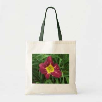 Purple and yellow flower budget tote bag