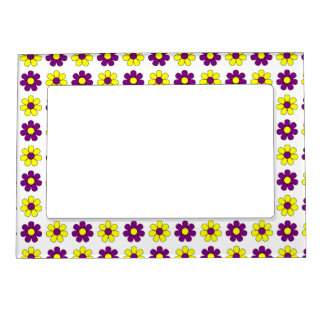 Purple and yellow flowers frame