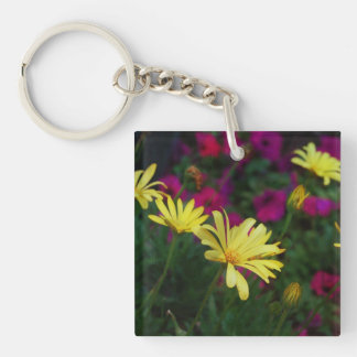 Purple and yellow flowers Single-Sided square acrylic key ring