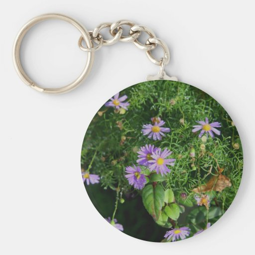 Purple and yellow flowers key chains