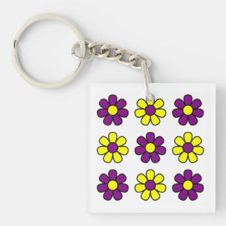 Purple and yellow flowers keychain