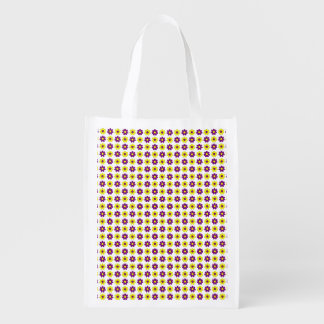 Purple and yellow flowers reusable grocery bag