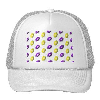 Purple and Yellow Football Pattern Trucker Hat