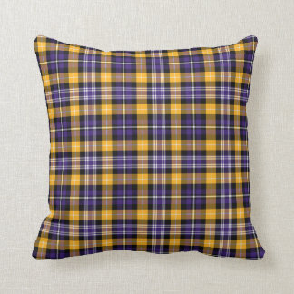 Purple and Yellow Gold Sporty Plaid Cushion