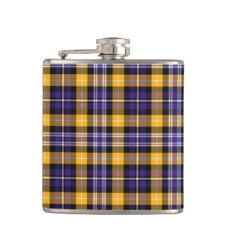 Purple and Yellow Gold Sporty Plaid Hip Flask