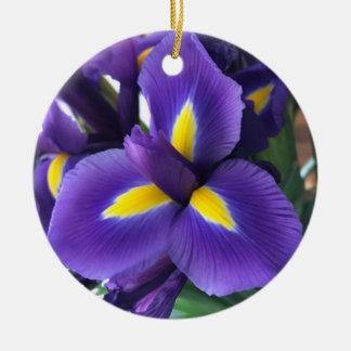 Purple and yellow iris christmas ornament