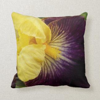 Purple and Yellow Iris Floral Cushion