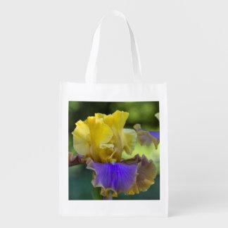 Purple and Yellow Iris Reusable Bag