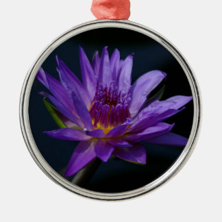 Purple and Yellow Lotus Waterlily Flower Christmas Ornament