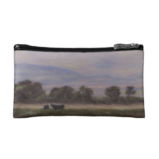 Purple and Yellow Mountains with Cows Cosmetic Bag