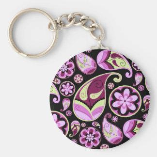 Purple and Yellow Paisley Key Ring