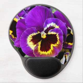 Purple and yellow pansy flower gel mouse pad