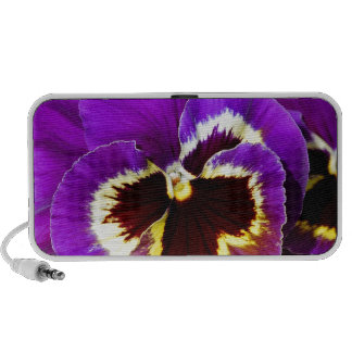 Purple and yellow pansy flower travelling speaker